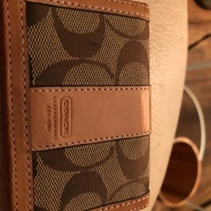 Coach canvas and leather ID and card wallet